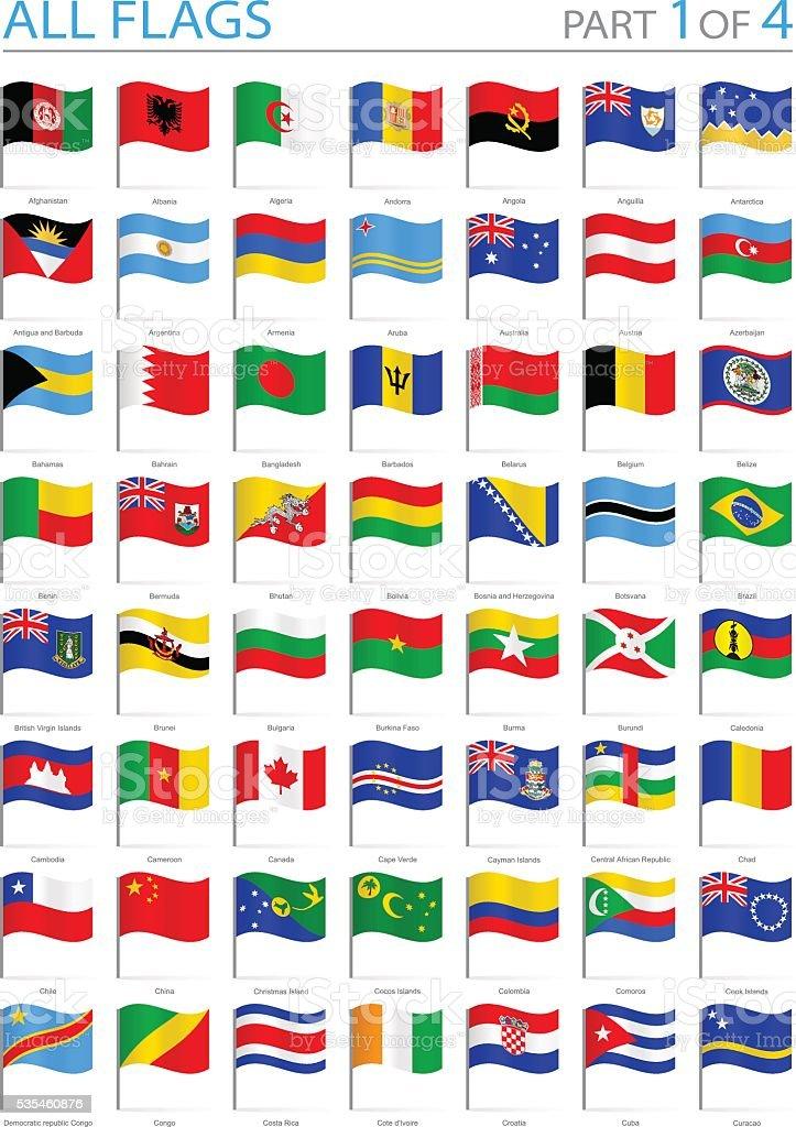All World Flags - Waving Pins - Illustration vector art illustration