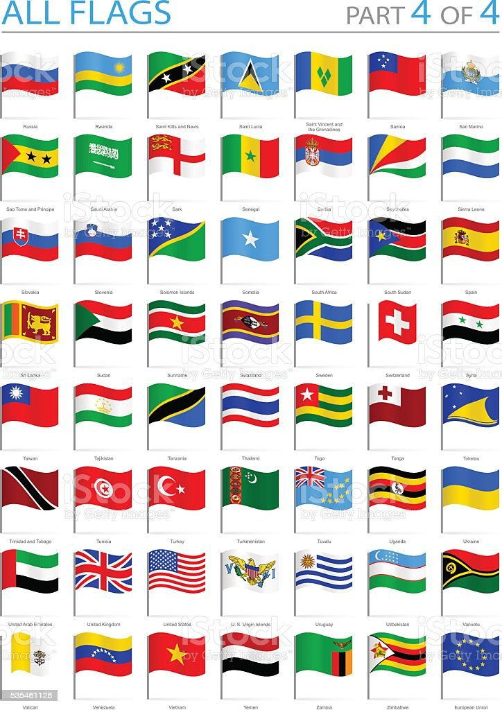 All World Flags - Waving Pins - Illustration vector art illustration
