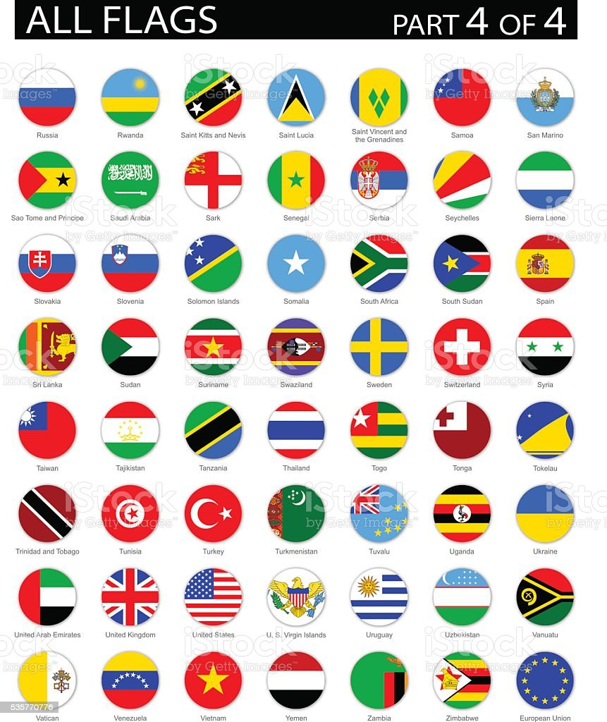 All World Round Flag Flat Icons - Illustration vector art illustration