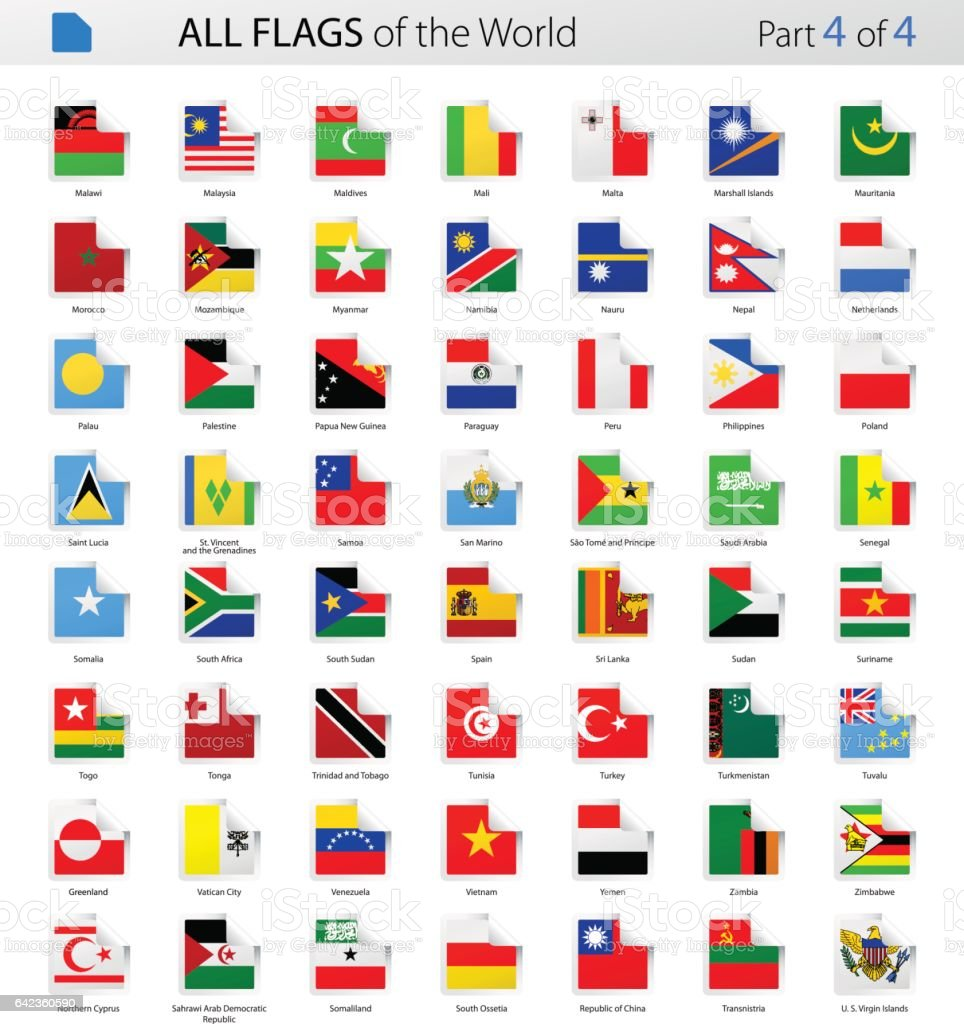All World Square Corner Vector Flags - Collection vector art illustration