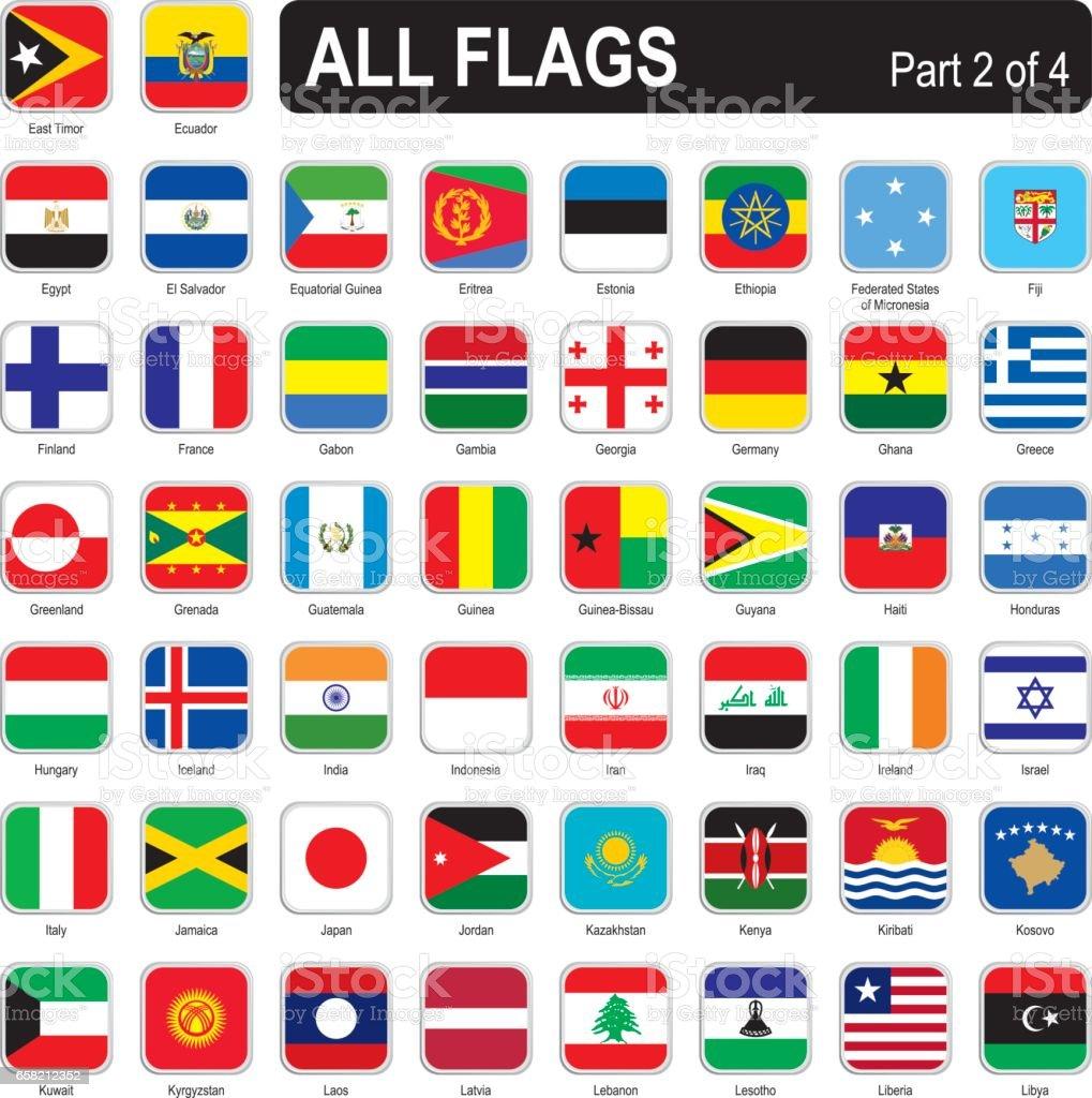 All world square flags vector art illustration