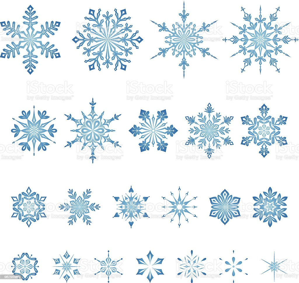 All_size_snowflakes_set royalty-free stock vector art
