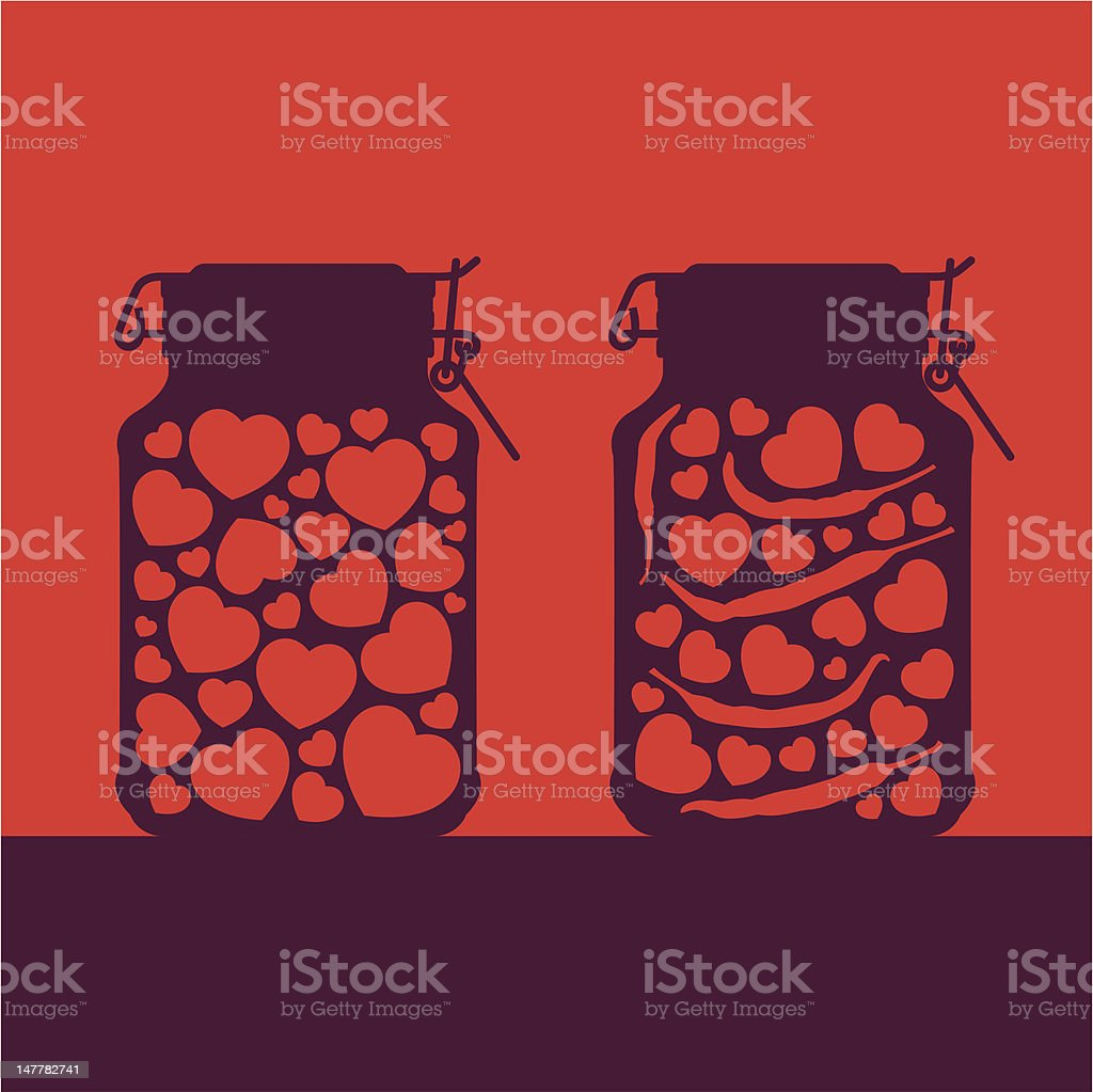 Allegory of love and passion as hearts canned in jars. royalty-free stock vector art