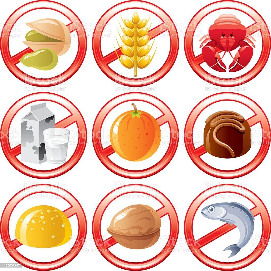 Allergen food icons vector art illustration