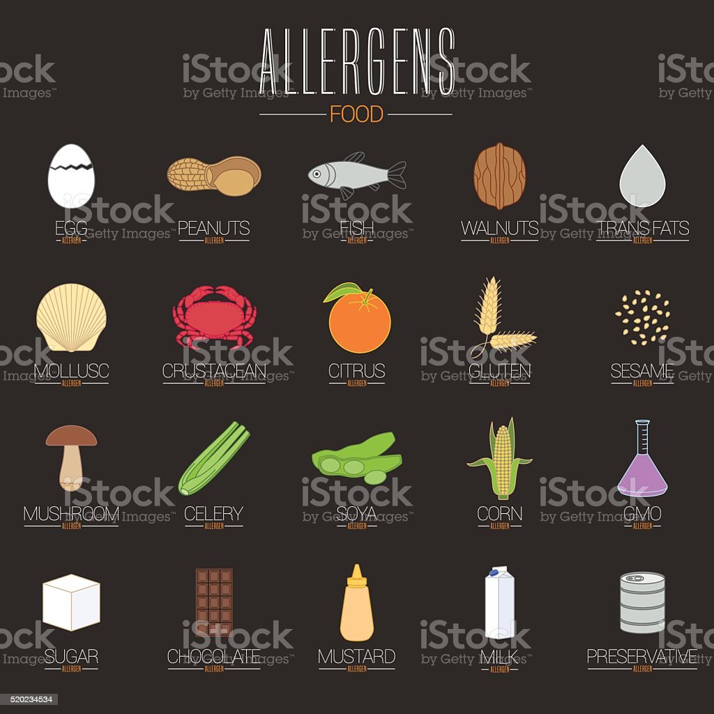 Allergen icons vector set vector art illustration