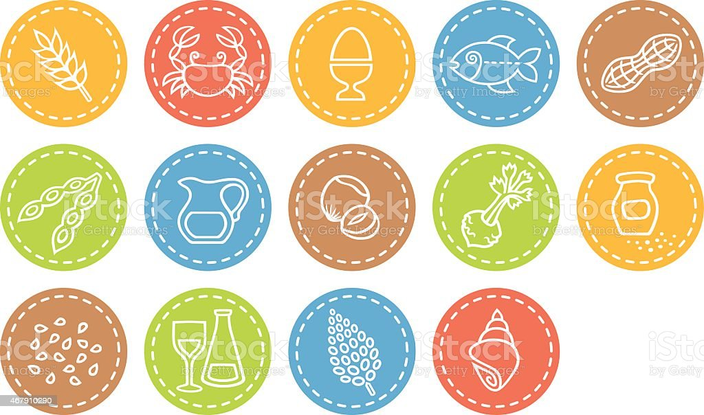 Allergen related multicolored icons vector art illustration