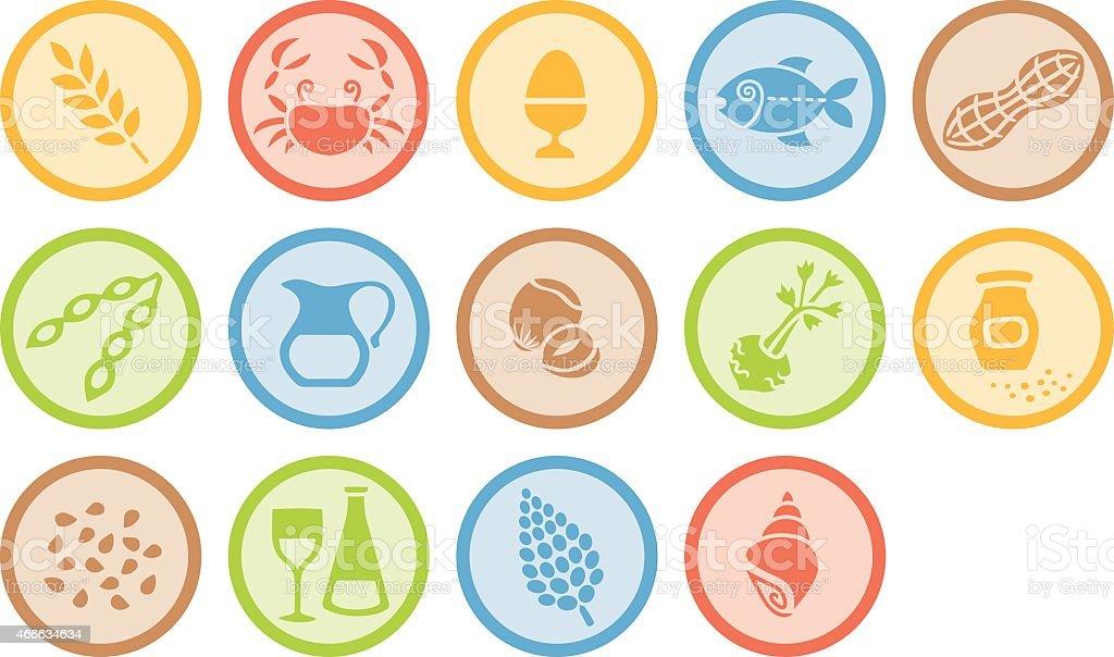 Allergene nach EU-Kennzeichnungspflicht als farbige Piktogramme vector art illustration