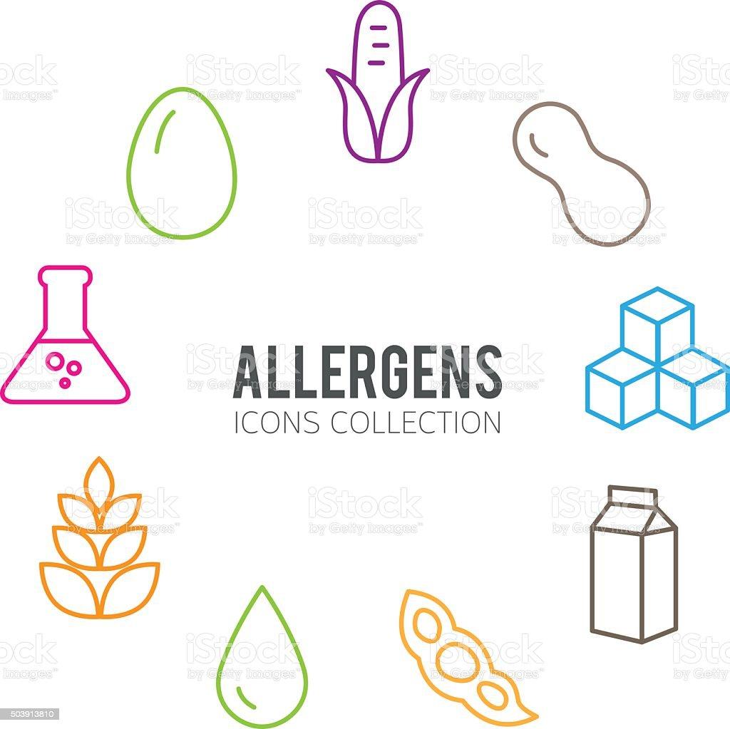 Allergens Icons Set vector art illustration