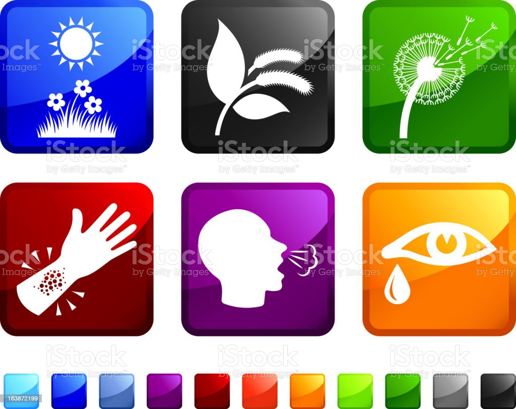 Allergy Causes and Effects royalty free vector icon set stickers vector art illustration
