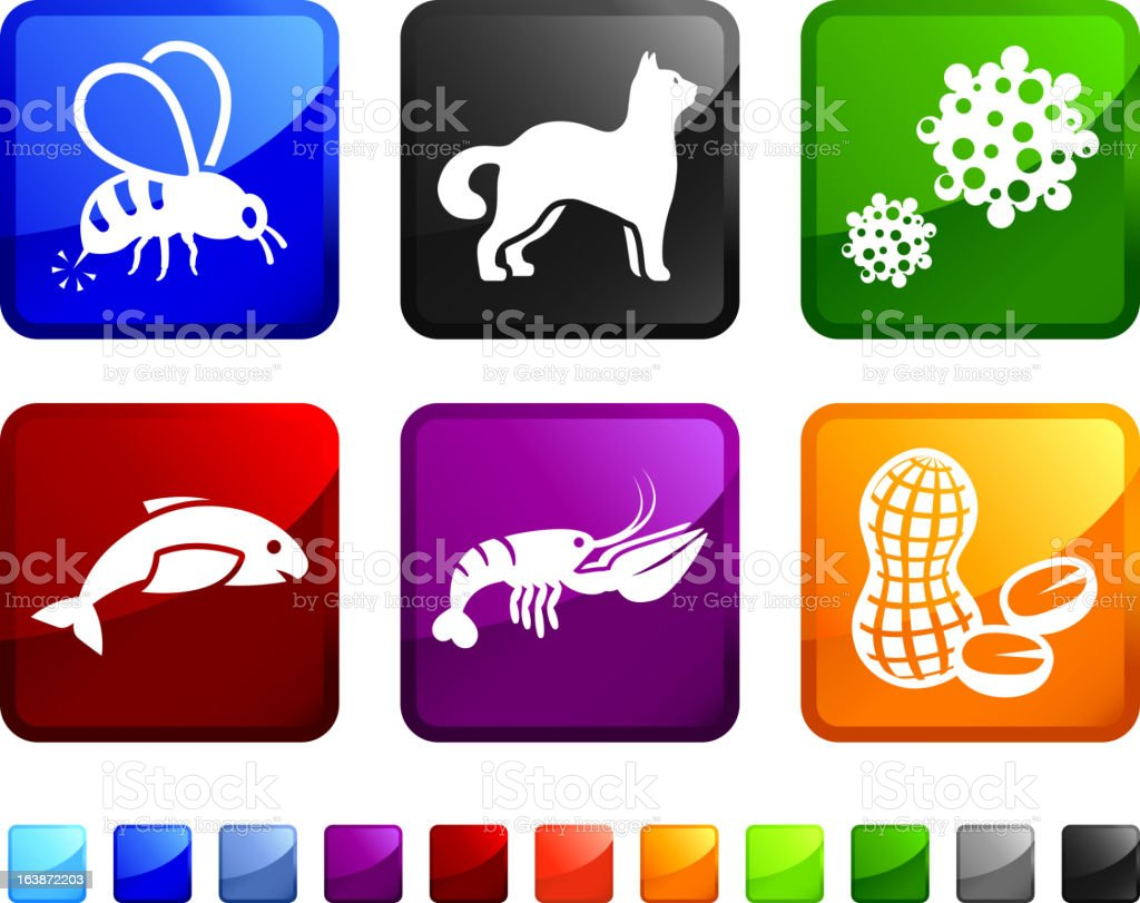 Allergy Causes royalty free vector icon set stickers royalty-free stock vector art