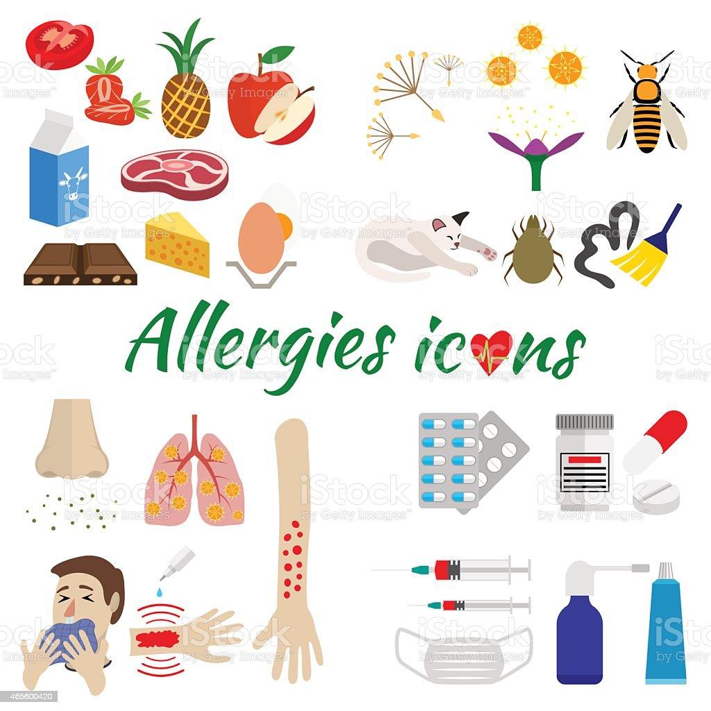 Allergy icons set vector art illustration