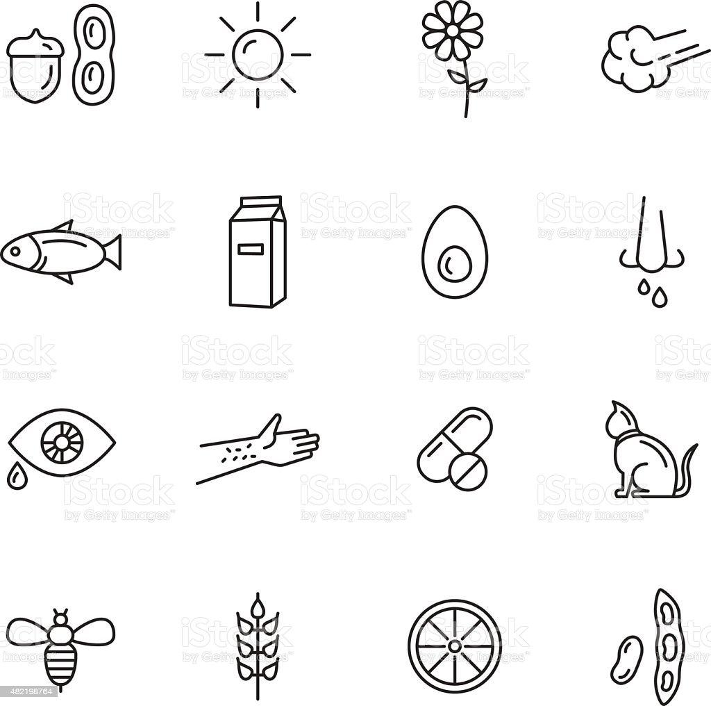 Allergy Icons vector art illustration