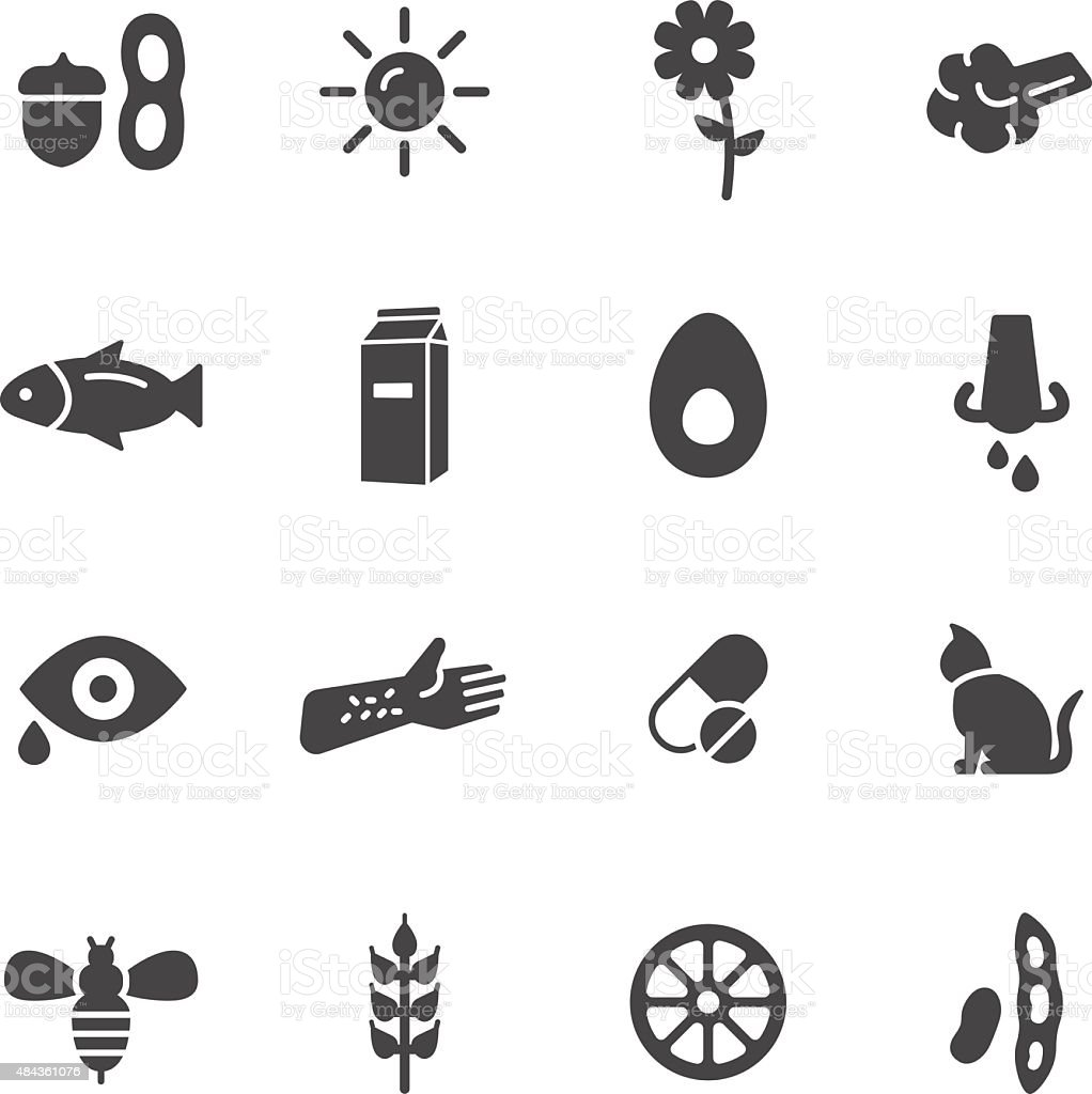 Allergy Icons vector art illustration