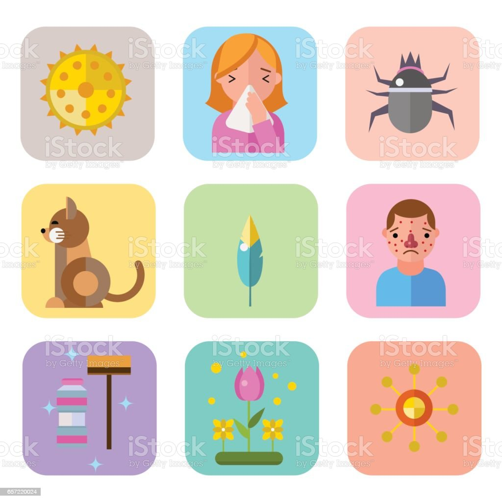 Allergy symbols disease healthcare tablets viruses and health flat label people with illness allergen symptoms disease information vector illustration vector art illustration