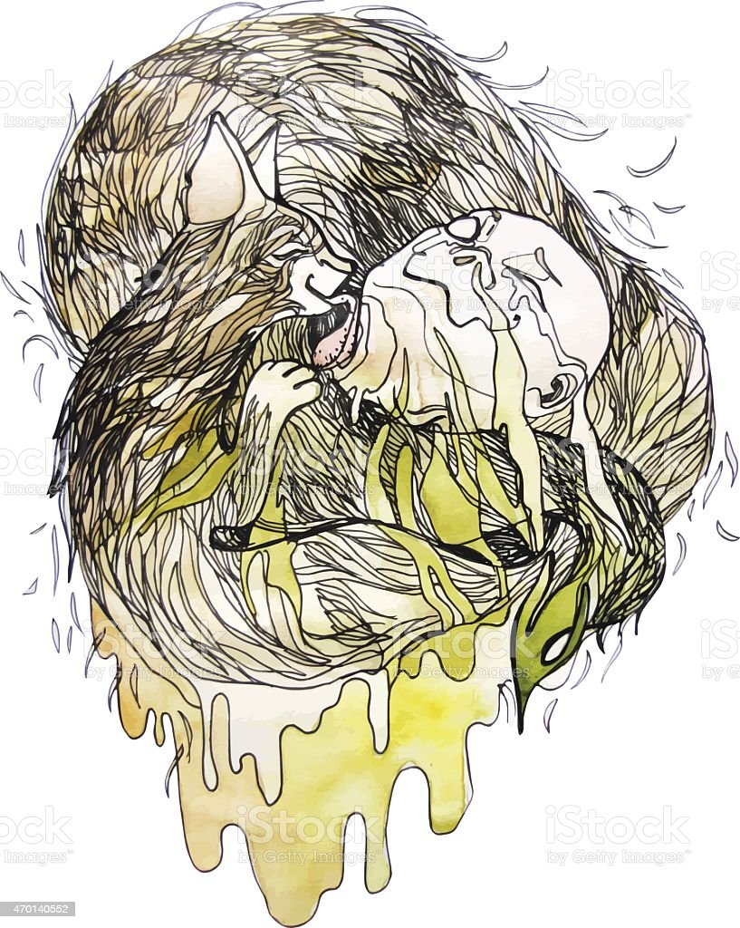 Allergy to animals vector art illustration
