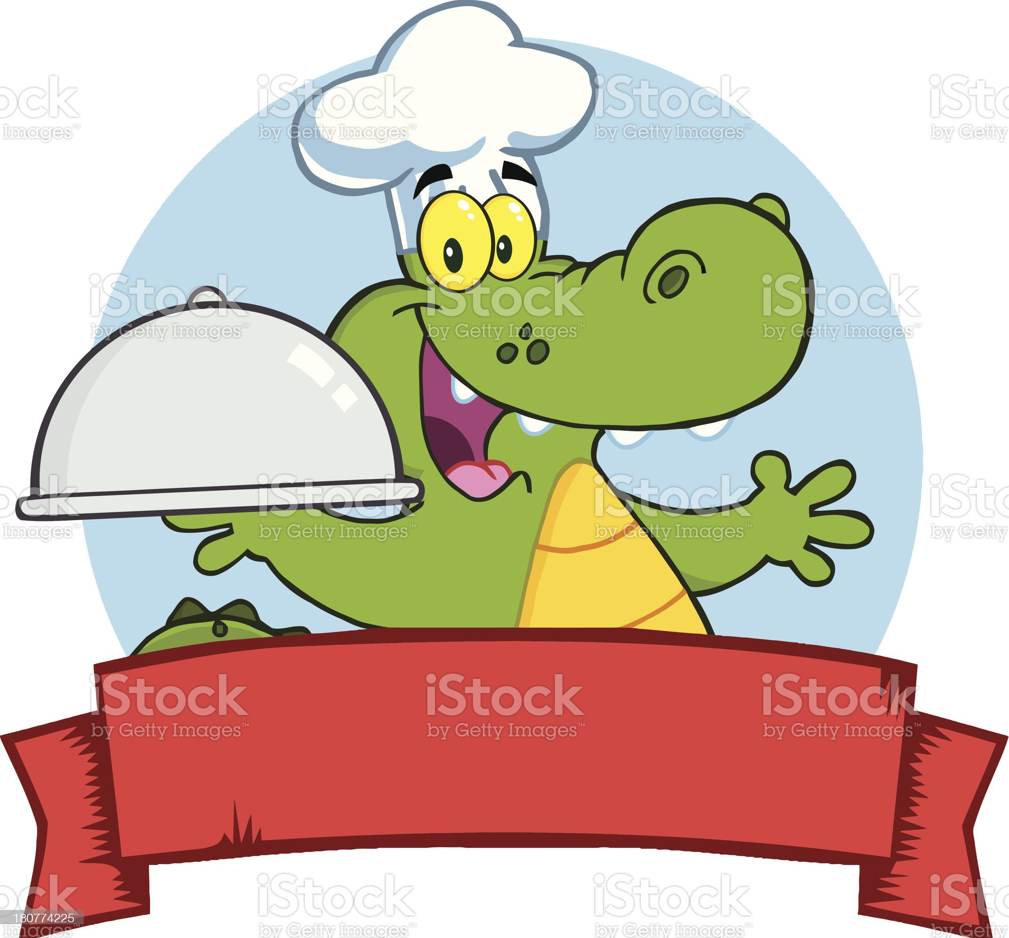 Alligator Chef Holding A Platter Over Blank Banner royalty-free stock vector art