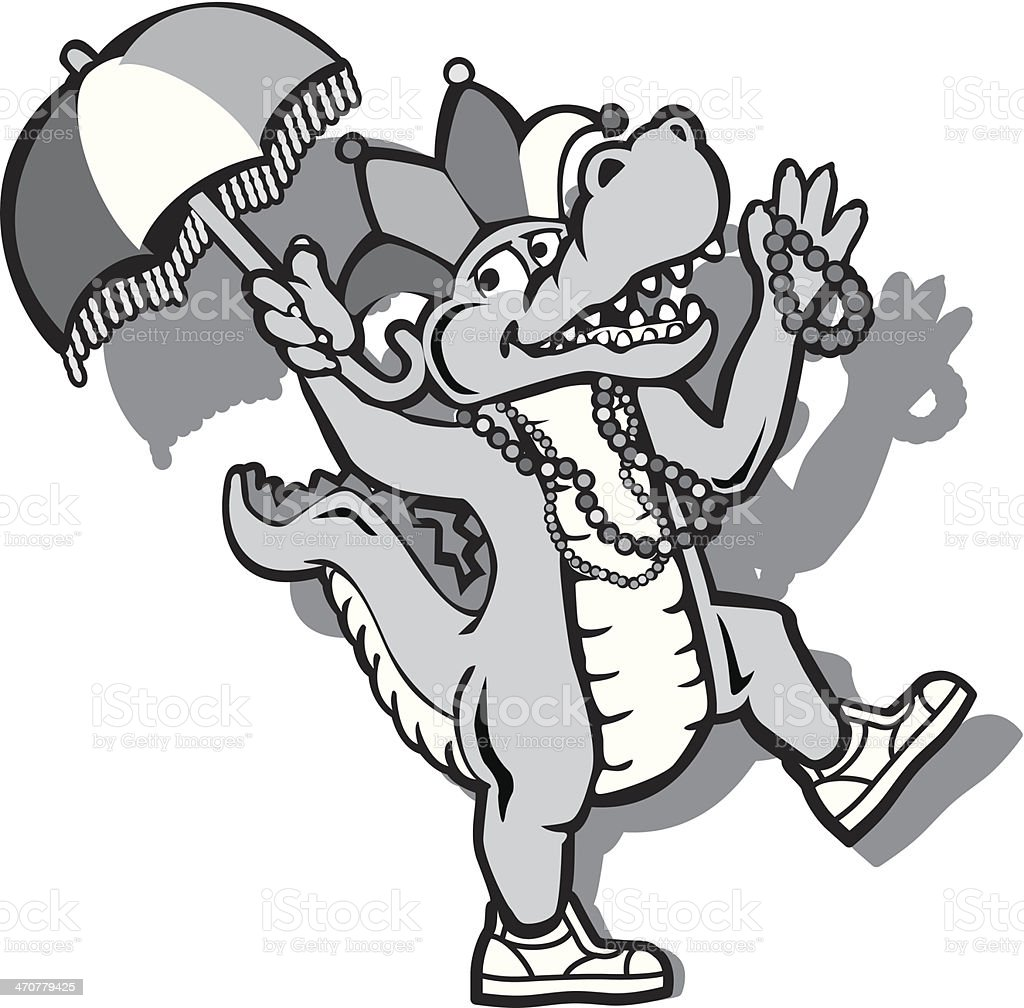 Alligator Dancing vector art illustration