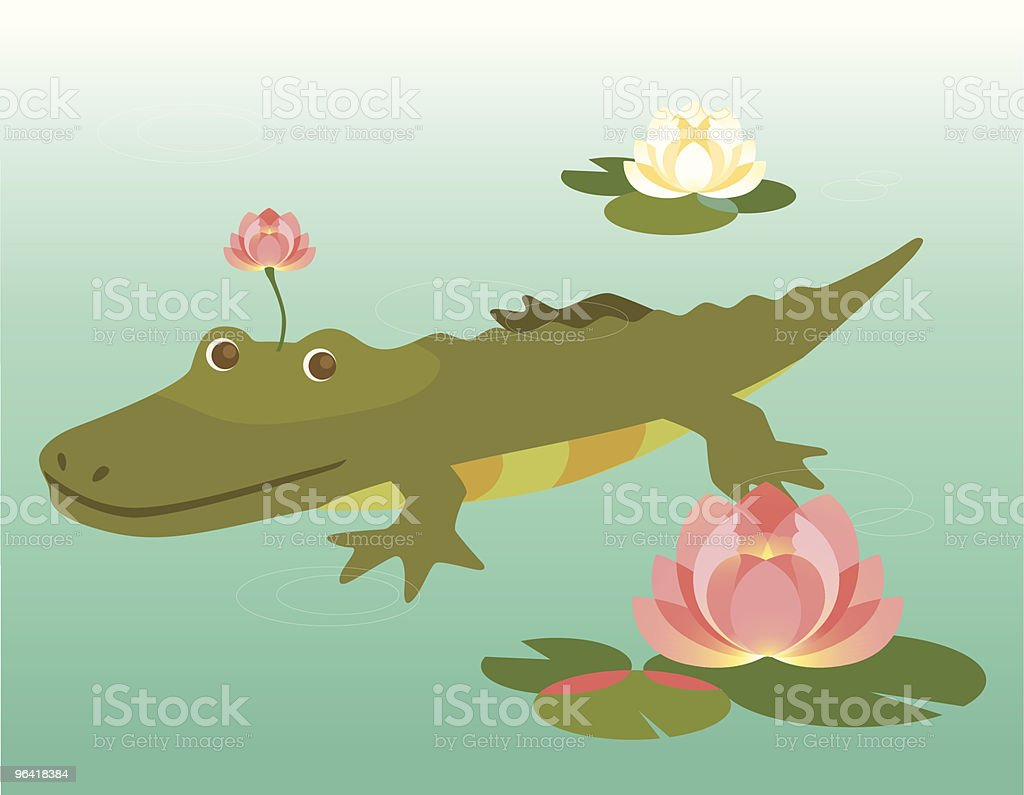 Alligator in a water lily pool royalty-free stock vector art