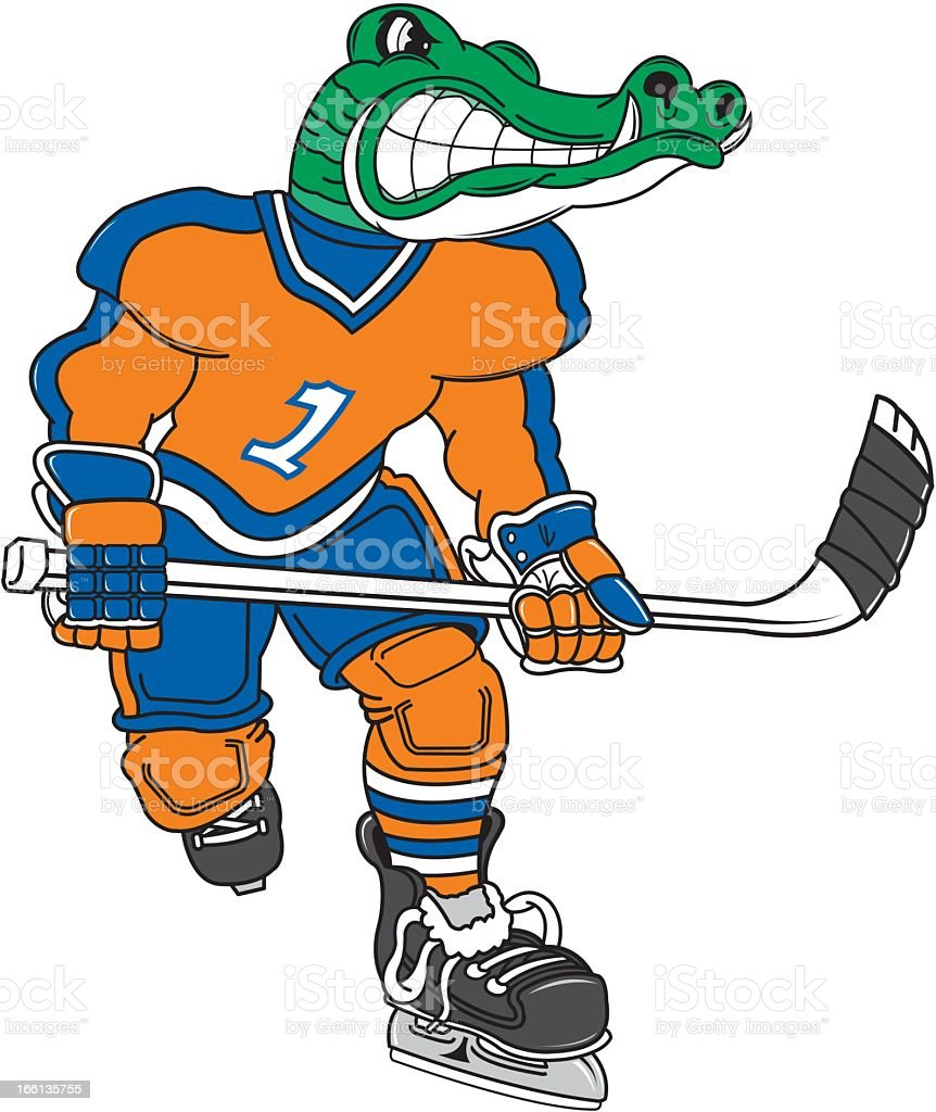 Alligator Playing Ice Hockey royalty-free stock vector art