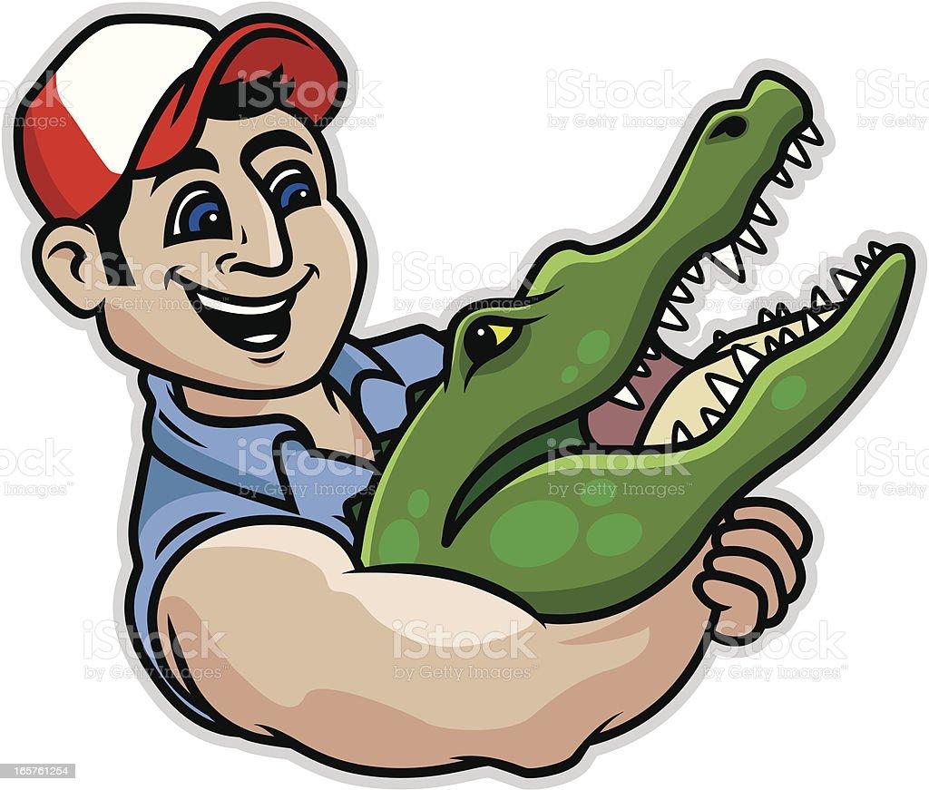 Alligator Wrestling vector art illustration