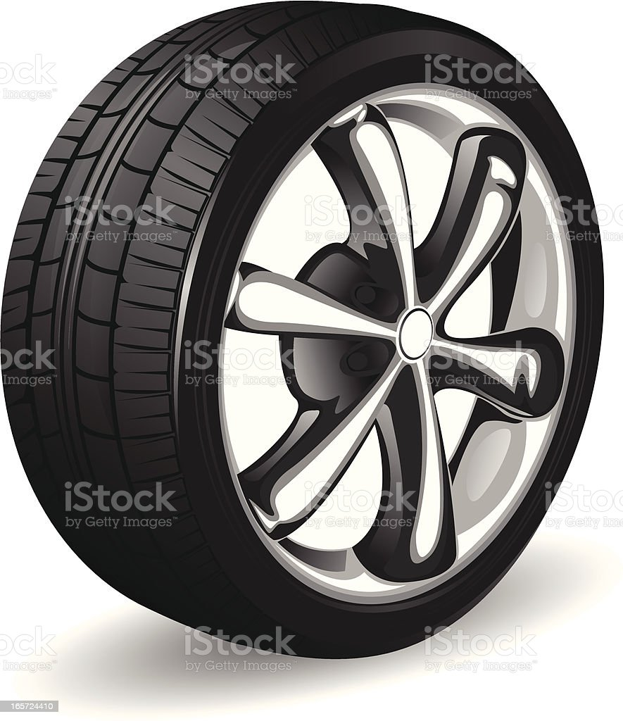 Alloy wheel and tyre royalty-free stock vector art