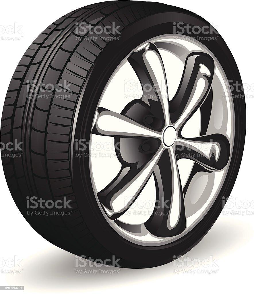 Alloy wheel and tyre vector art illustration