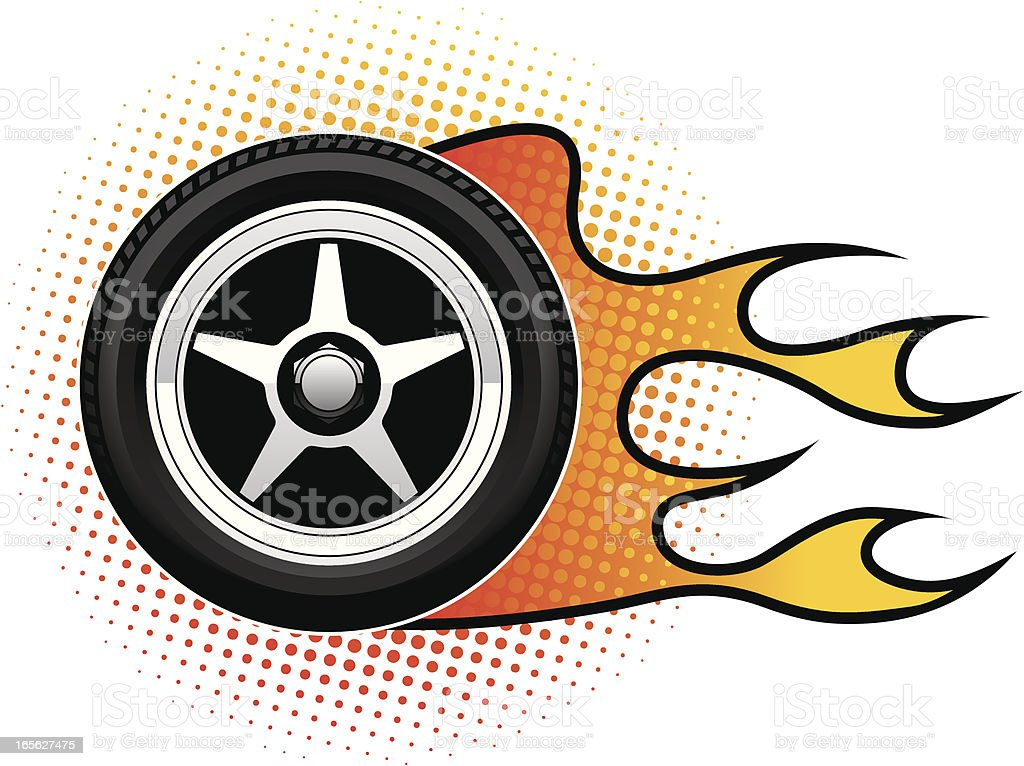 Alloy Wheel Flame royalty-free stock vector art
