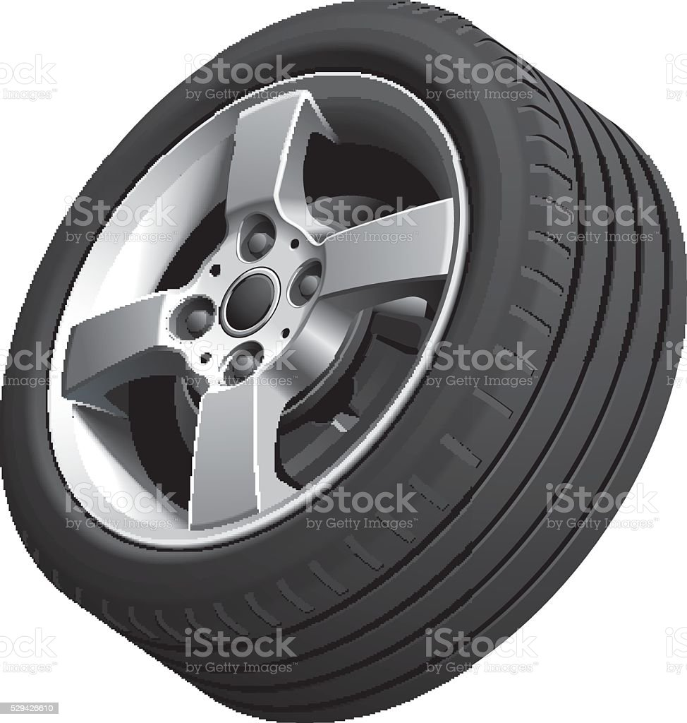 Alloy wheel isolated vector art illustration