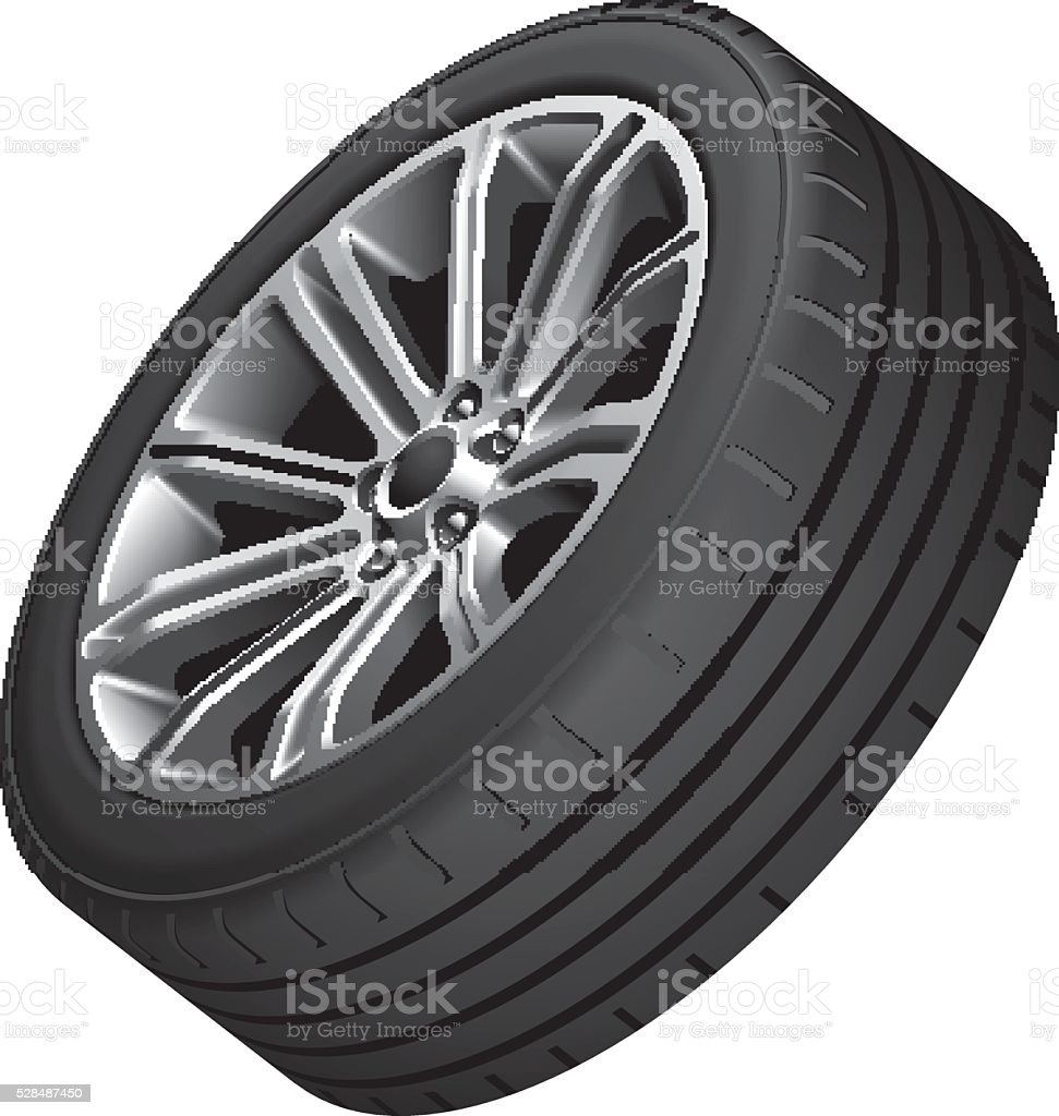 Alloy wheel with low-profile tire vector art illustration