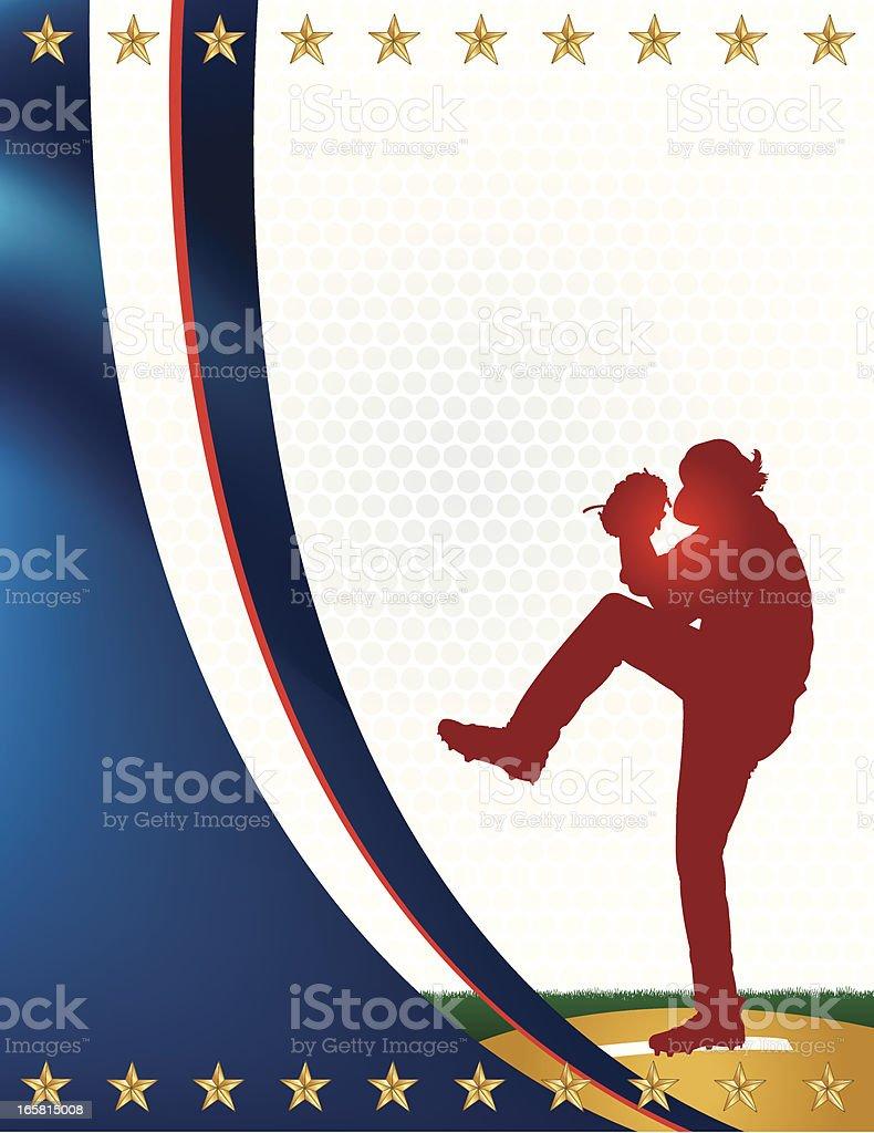 All-Star Baseball Pitcher Background vector art illustration