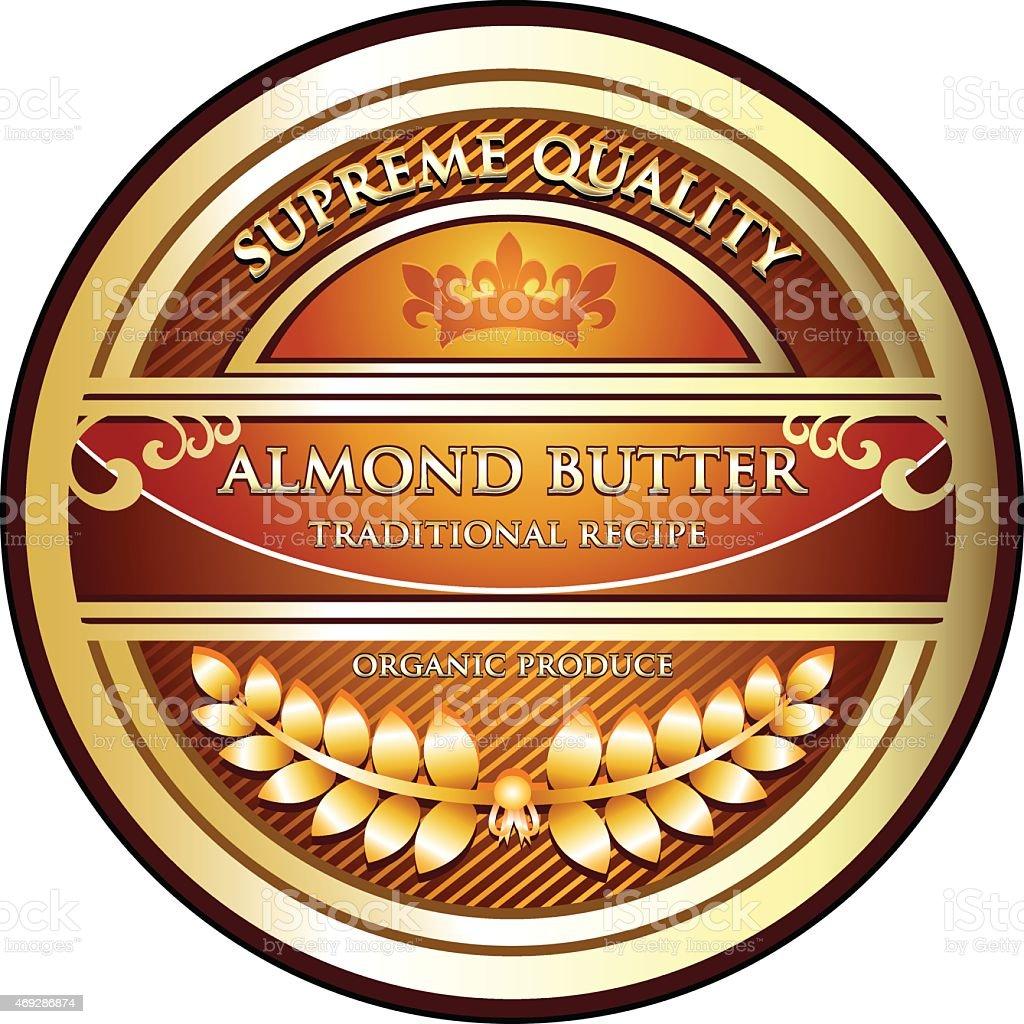 Almond Butter Label vector art illustration