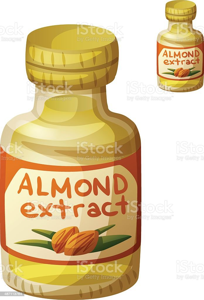 Almond extract isolated on white background. Detailed Vector Icon vector art illustration