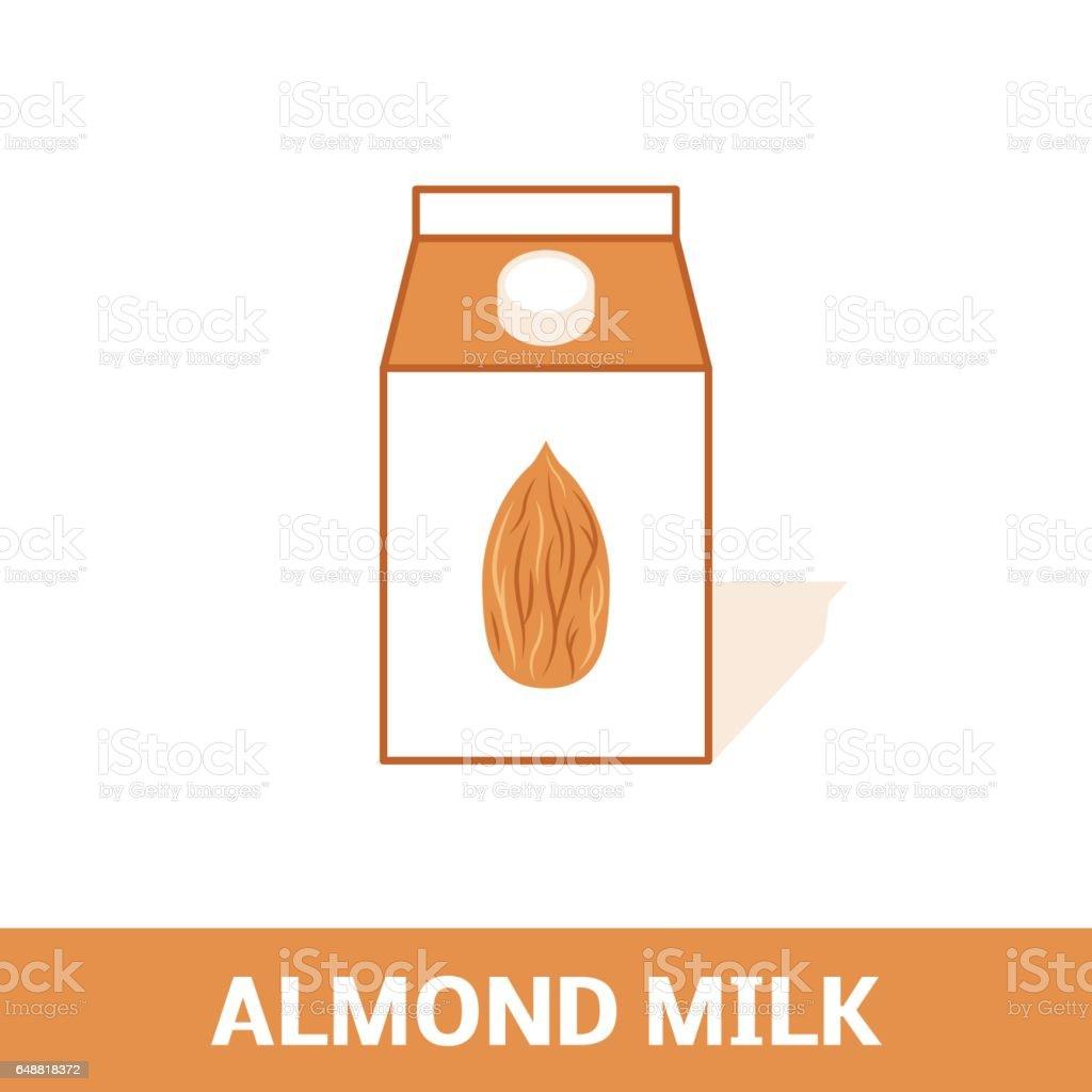 Almond milk icon vector art illustration