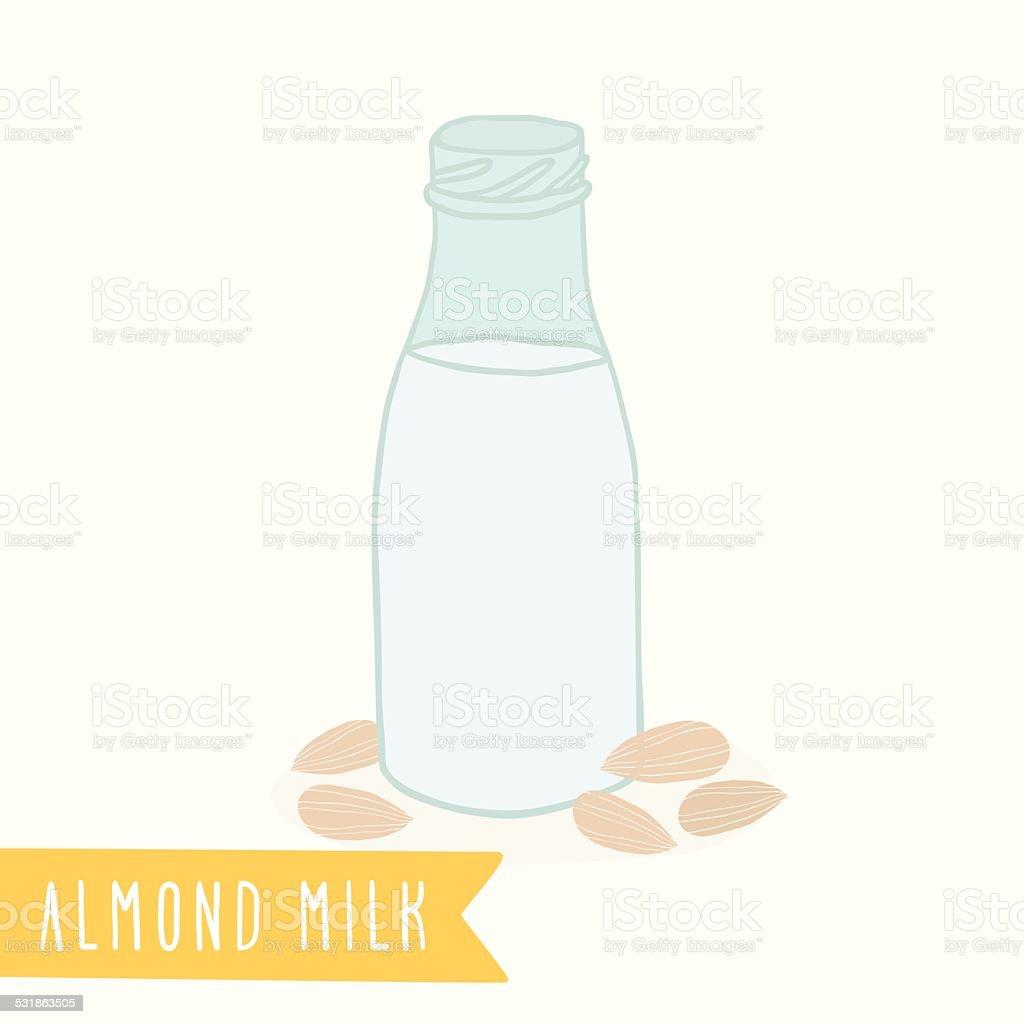 Almond milk in a glass bottle. vector art illustration