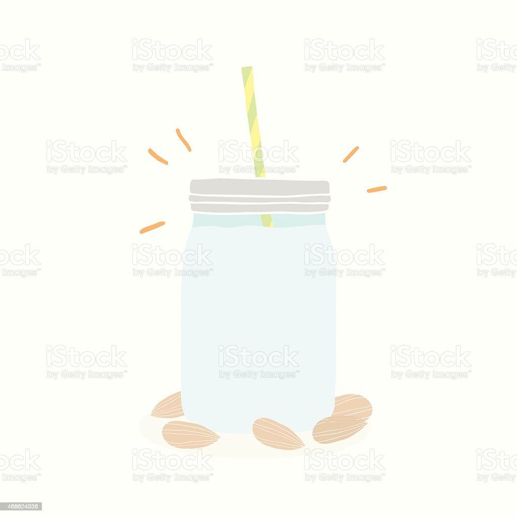 Almond milk in jar vector art illustration