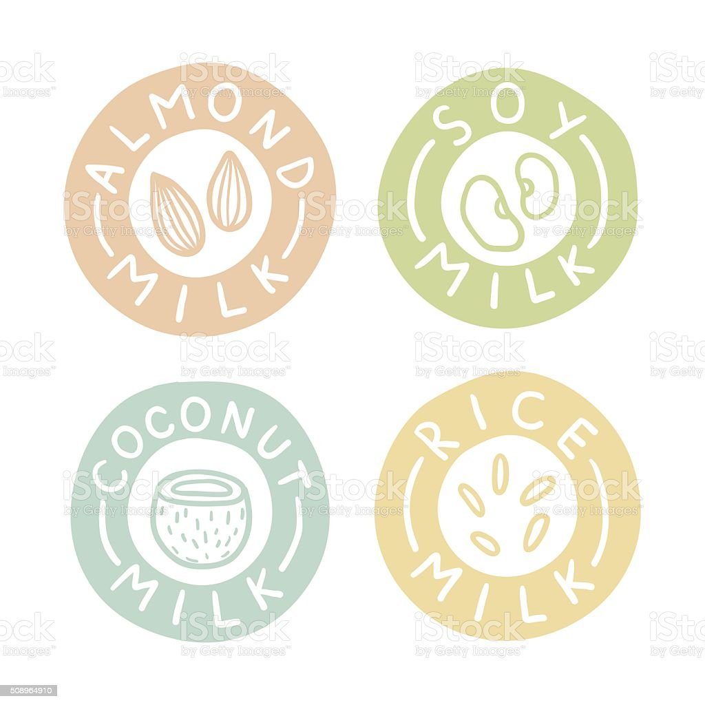 Almond, soy, coconut, rice milk badges vector art illustration