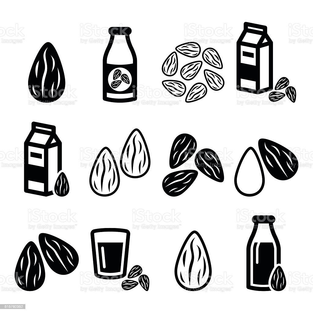 Almonds, almond milk vector icons set vector art illustration