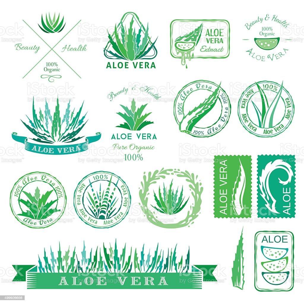Aloe vera design elements. Stencil style. vector art illustration