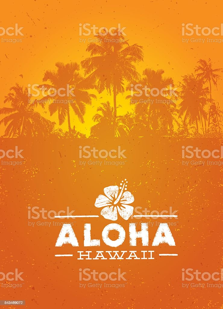 Aloha Hawaii Creative Summer Beach Tropical Vector Design Element vector art illustration