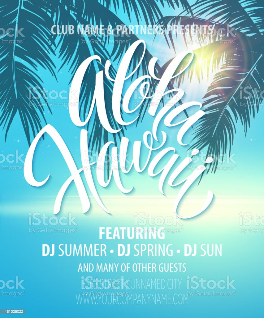Aloha Hawaii  Summer Beach Party Poster. Vector illustration vector art illustration
