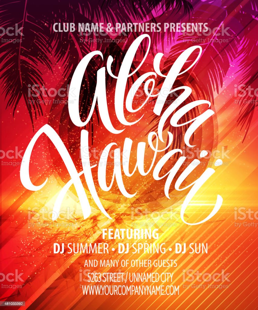 Aloha Hawaii  Summer Beach Party Poster. Vector illustration vector art illustration