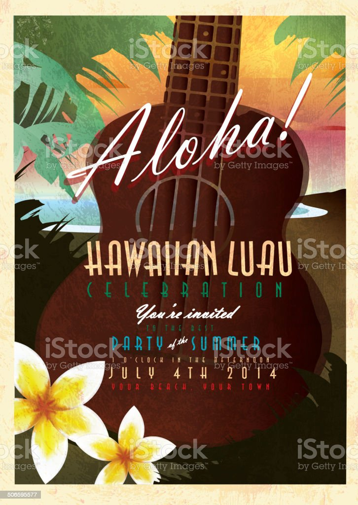 Aloha Hawaiian Luau invitation design template with abstract Ukulele vector art illustration