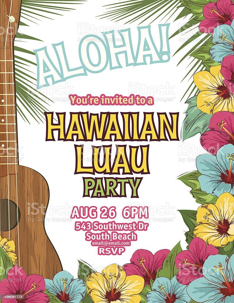Aloha Hawaiian Party Invitation vector art illustration