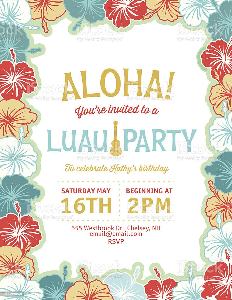 Aloha Hawaiian Party Invitation vector art illustration