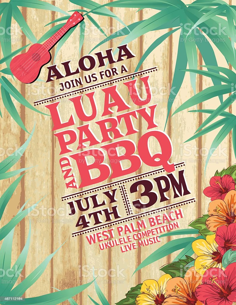 Aloha Hawaiian Party Invitation With Hibiscus And Ukulele vector art illustration
