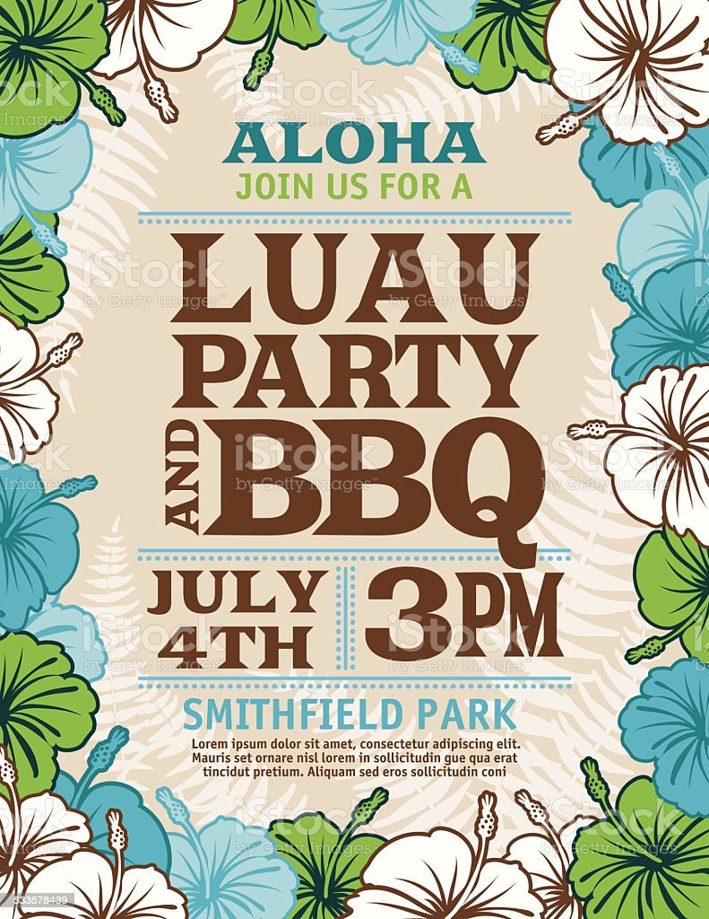 Aloha Hawaiian Party Invitation With Hibiscus Flowers And Palm Leaves vector art illustration