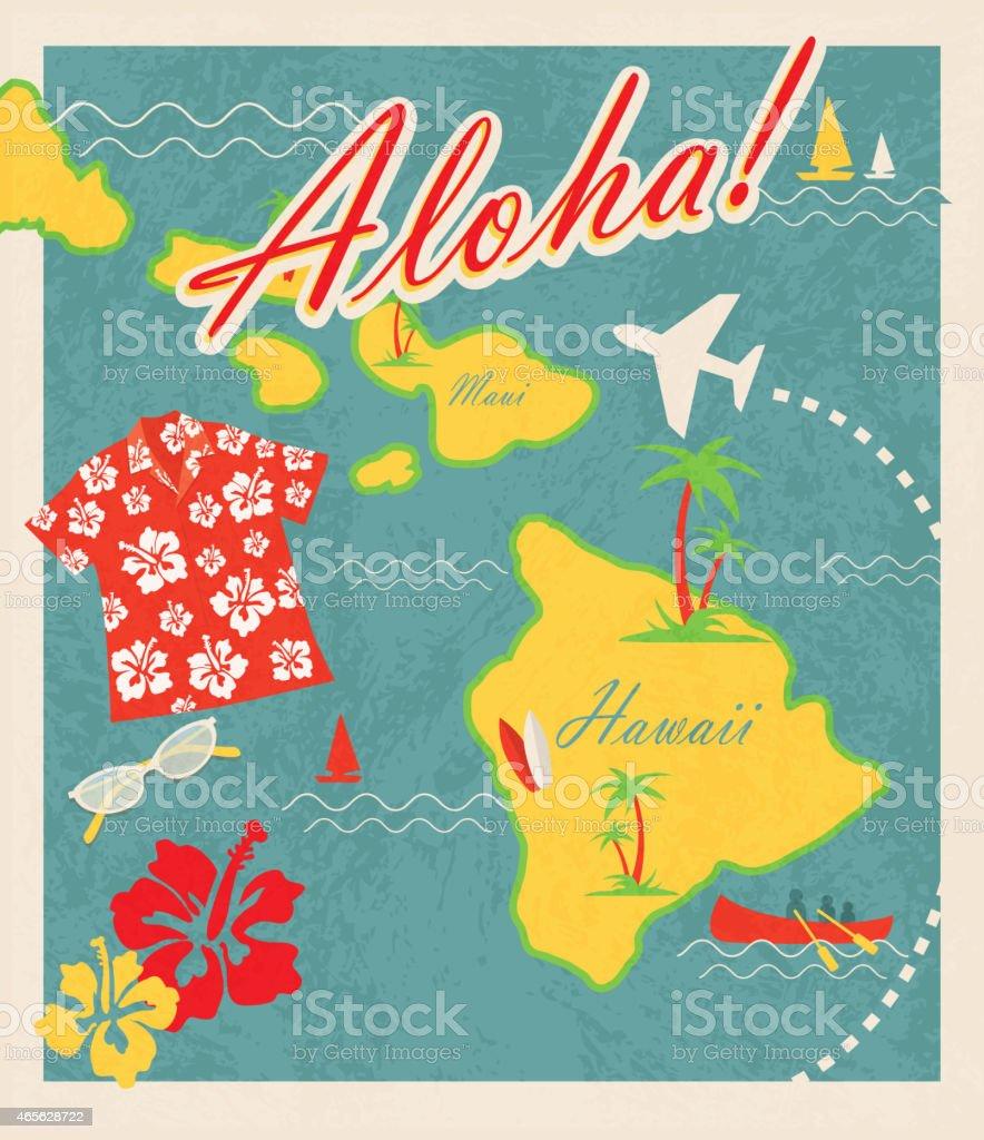 Aloha Retro Hawaiian Luau map design travel theme invitation design vector art illustration