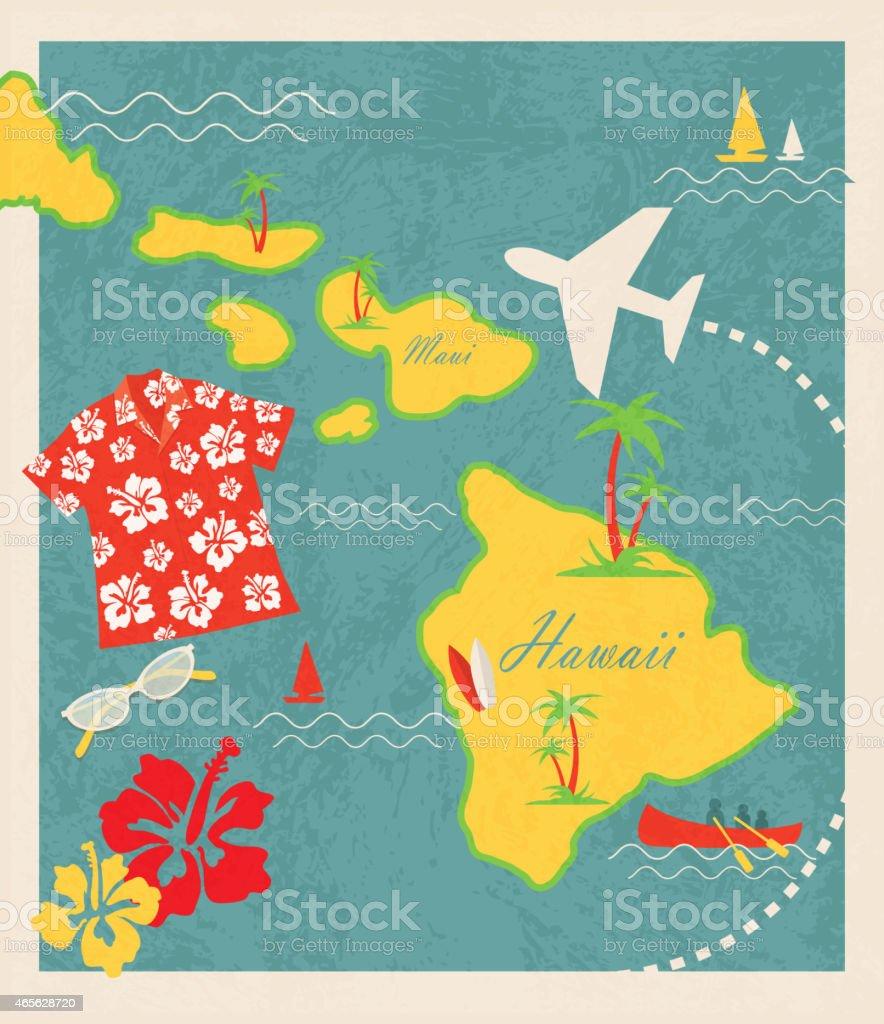 Aloha retro revival Hawaiian Luau map design travel theme elements vector art illustration