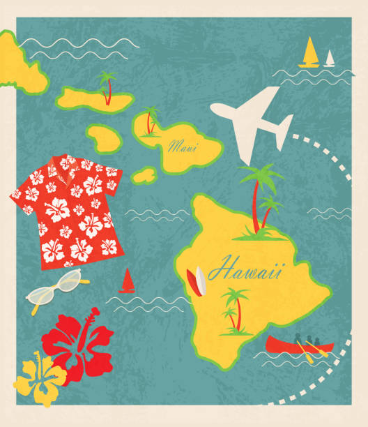 Hawaii Islands Map Big Island Old Fashioned Clip Art, Vector Images ...