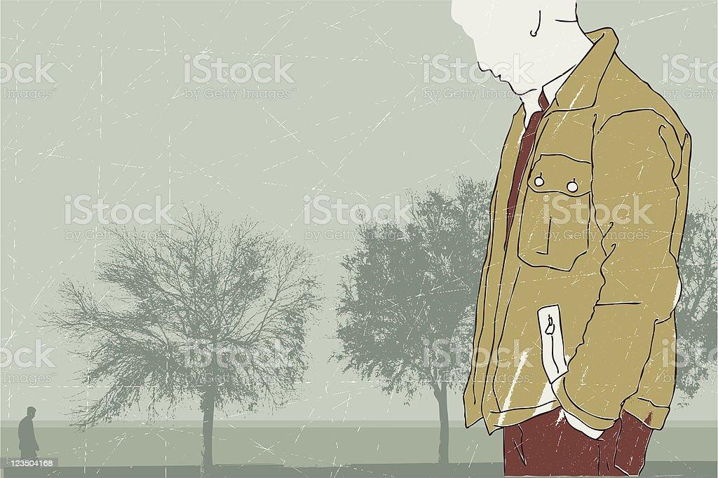 Alone in autumn vector art illustration